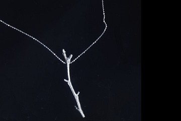 Sterling Silver Twig Necklace on 20 inch Sterling Silver Chain