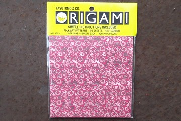 40 Sheets of 4-5/8 inch Square Folk Art Origami Paper