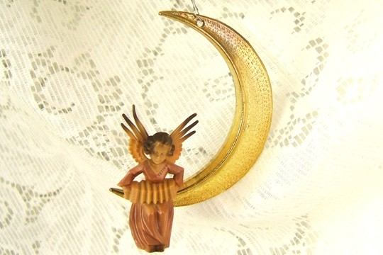 Hand-Painted Musical Angel on Golden Moon Slice