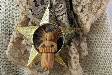 Vintage Plastic Ornament - Angel in Golden Star, Playing the Concertina