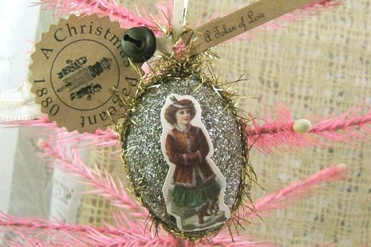 Retired Old-Timey Silver Glitter Egg Ornament Featuring a Little Girl