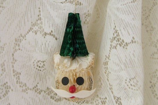 Vintage Honeycomb Santa Ornament with Green Hat