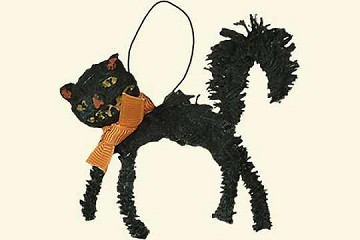 Raggedy Cat Ornament (Chenille) with Bow