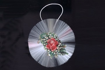 Vintage Spun Glass Ornament - Flowers