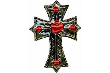 Hand-made Tin Cross with Heart (from Mexico)