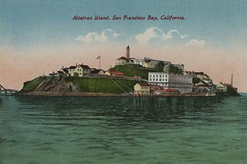 Art Postcard - Historic View of Alcatraz Prison Island - San Francisco