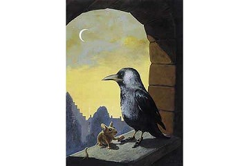 Art Postcard: Dohle (Crow with Shoeshine Mouse)