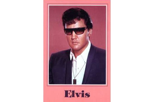 Vintage Elvis Postcard with Salmon Background