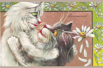 Passionnement (Passion Cats) - Art Postcard