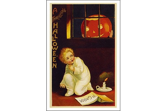 Art Postcard - Scary Pumpkin