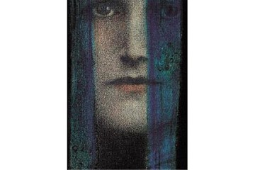 Art Postcard - Un Rideau Bleu (The Blue Curtain)