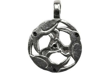 Three Ravens Circling Celtic Pendant