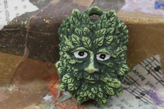 Reversible Green Man Talisman Pendant with Romance Card
