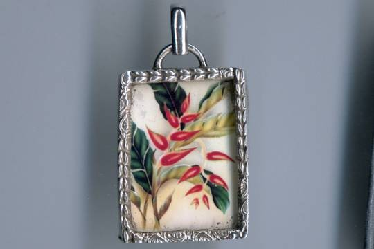 Sterling Silver and Glass Hawaiian Flower Pendant