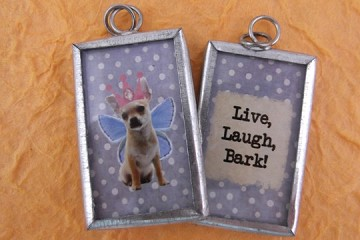 Reversible Dog Fairy Pendant Live, Laugh, Bark Pendant
