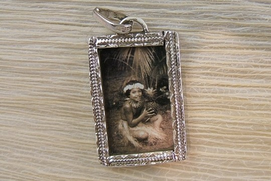 Sterling Silver Polynesian or Hawaiian Child with Pineapple Pendant