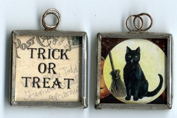 Trick or Treat Black Kitty Pendant