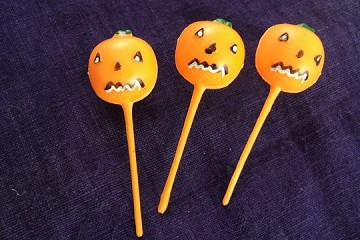 Halloween Picks: Set of 3 Pumpkin Jack-o'Lanterns