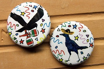 Pinback Button Set of 2 Fiesta Crows