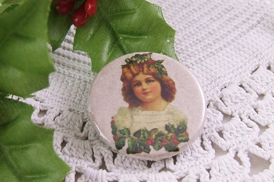 Pretty Victorian Christmas Girl with Holly Pin-Back Button