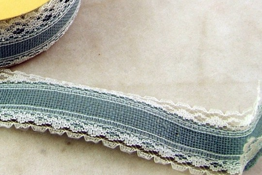 Vintage Blue Aida Cloth Ribbon for Cross Stitch or Other Embroidery By the Inch