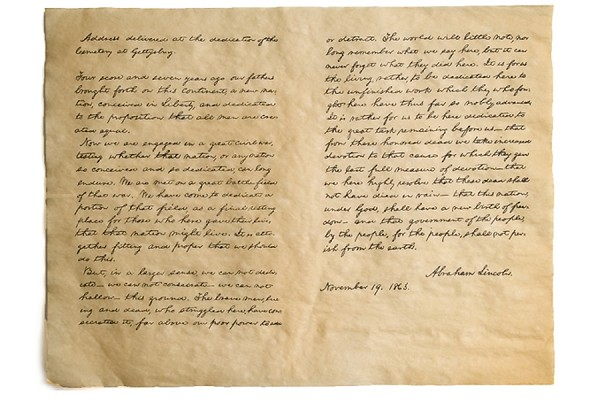 Gettysburg Address Reproduction Antiqued Parchment
