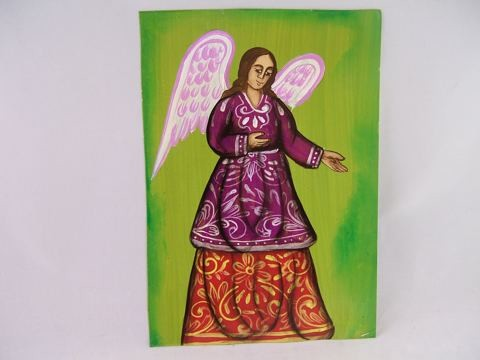 Tin Retablo: The Angel Protector (Green Background - Purple and Red Gown)