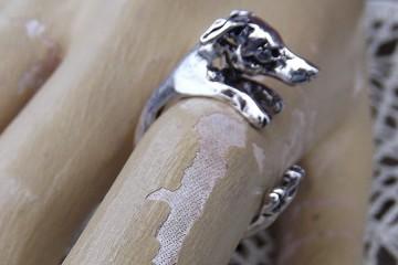 Adjustable Antiqued Silver Plated Greyhound Ring