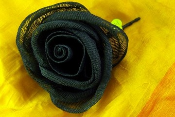 Large Black Mesh Millinery Rose