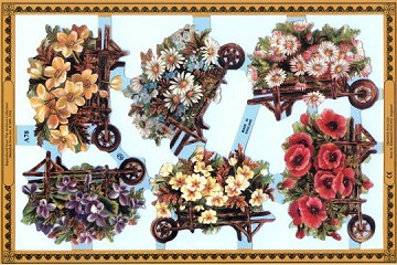 Reproduction Chromolithograph Embossed Die-Cut Scrap Reliefs - Breath of Spring