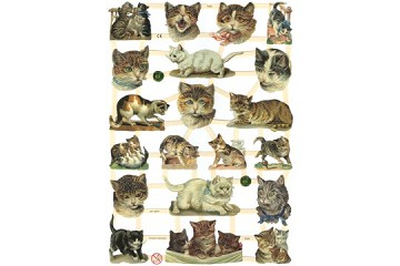 Reproduction Chromolithograph Embossed Die-Cut Reliefs - Cats Only