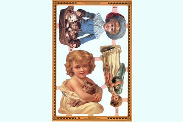 Reproduction Chromolithograph Embossed Die-Cut Reliefs - Children and Cats