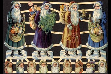 Reproduction Chromolithograph Embossed Die-Cut Scrap Reliefs - Deluxe Santas