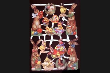 Reproduction Chromolithograph Embossed Die-Cut Reliefs - Easter Buddies