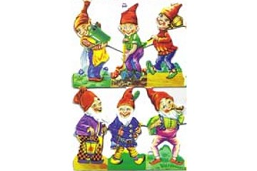 Reproduction Chromolithograph Embossed Die-Cut Reliefs - Elves (Small Sheet of 6)