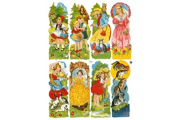 Authentic Vintage Chromolithograph Embossed Die-Cut Reliefs - Fairy Tale Classics