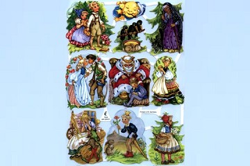 SCRAPS - Reproduction Chromolithograph Embossed Die-Cut Reliefs - Fairy Tales with Crows