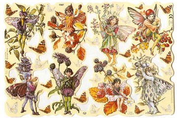 Reproduction Chromolithograph Embossed Die-Cut Scrap Reliefs - Flower Fairies - Set 2