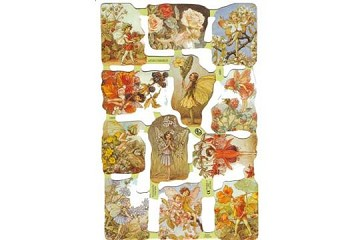 Reproduction Chromolithograph Embossed Die-Cut Scrap Reliefs - Flower Fairies - Set 3