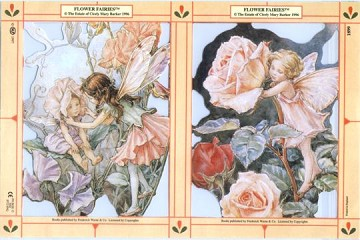 Reproduction Chromolithograph Embossed Die-Cut Scrap Reliefs - Flower Fairies - Set 5