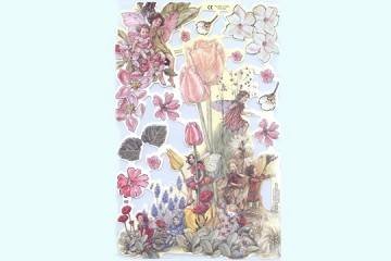 SCRAPS - Reproduction Chromolithograph Embossed Die-Cut Reliefs - Flower Fairies - Set 9