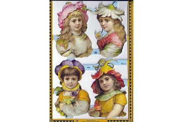 SCRAPS - Retired Reproduction Chromolithograph Embossed Die-Cut Reliefs - Flower Girls Four