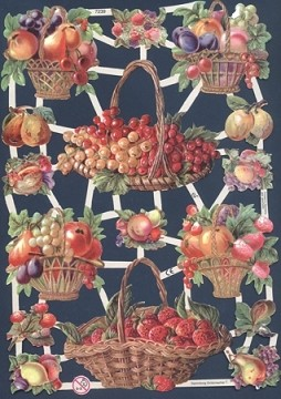 Reproduction Chromolithograph Embossed Die-Cut Reliefs - Fruit Baskets