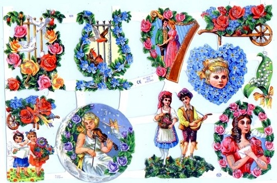 Hand-Glittered Reproduction Chromolithograph Embossed Die-Cut Reliefs - Music