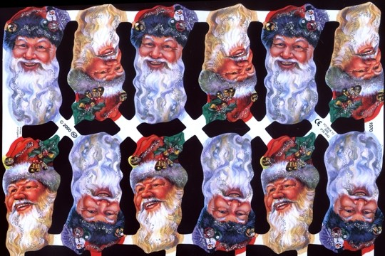Hand-Glittered Reproduction Chromolithograph Embossed Die-Cut Reliefs - Glitter Santa Face