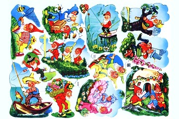 Vintage Chromolithograph Embossed Die-Cut Scrap Reliefs - Gnomes on the Go