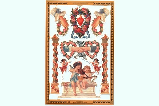 Hearts & Hands Reproduction Chromolithograph Embossed Die-Cut Reliefs Scraps