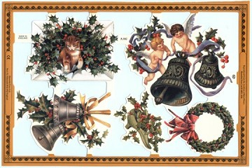 Reproduction Chromolithograph Die-Cut Relief Scraps from England - Holly