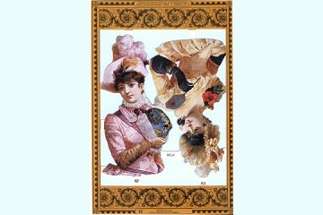 Reproduction Chromolithograph Embossed Die-Cut Scrap Reliefs - Ladies in Gloves
