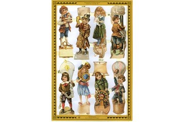Reproduction Chromolithograph Embossed Die-Cut Reliefs - Make Believe